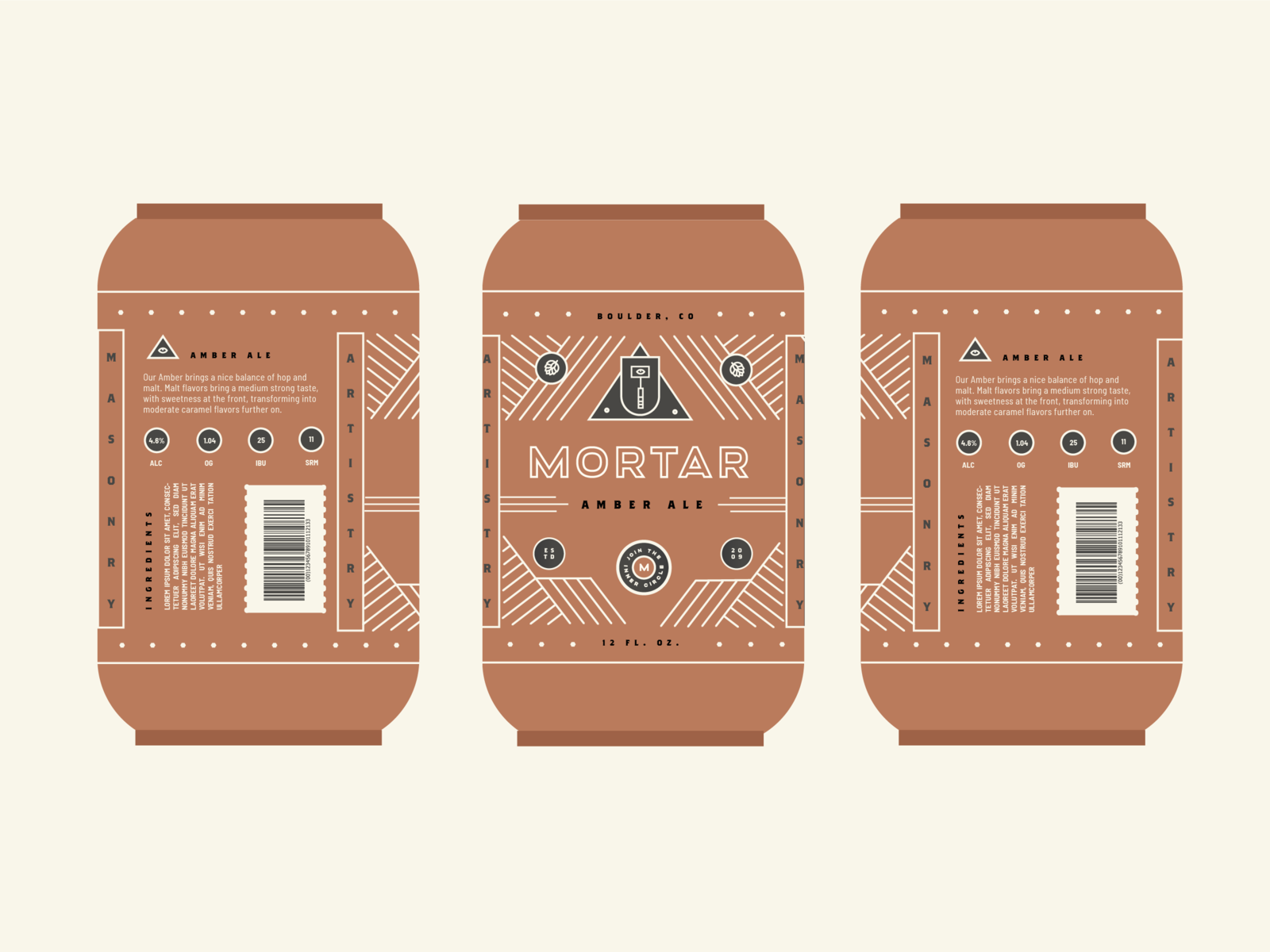 Mortar Cans Study 02 masonry package beer hammer eye pattern pyramid geometric graphic design typography logo illustration