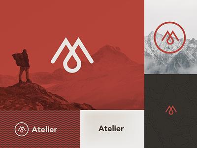 Atelier Logo Design navigation ui app hike inspiration graphic design idenity mark icon seal explore adventure mountain brand branding type typography logo