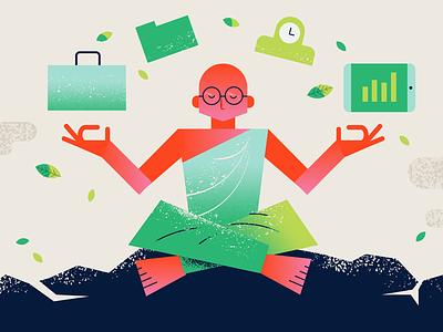 New Year's Goals nature bald monk briefcase clock time ipad 2019 new year finance agency meditation meditating vector design geometric office business illustrator illustration