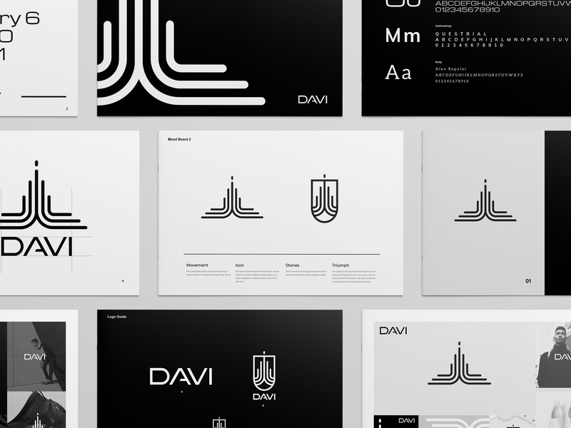Davi Brand Guide editorial shoes sneakers fashion symbol icon seal mark guide branding typography graphic design logo geometric