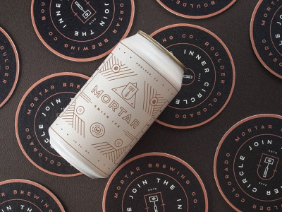 Mortar Coasters illustration type icon mark branding seal logo can hammer beer coaster geometric typography graphic design package design
