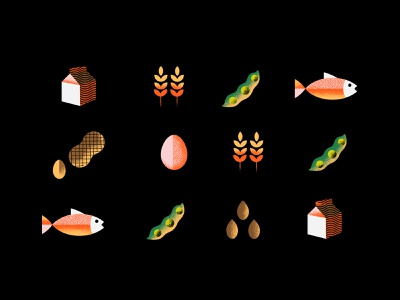 Food Allergies design flat vector geometric editorial illustration texture milk wheat fish allergies food red white pattern icons icon illustration graphic design black art