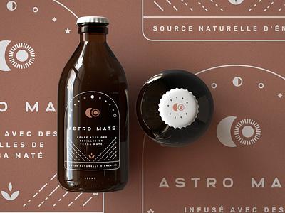 Bottle 1 tea bottle seal mark package design branding graphic design symbol astral planets sun moon space white black star geometric icon logo