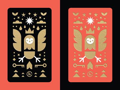 Owl Business Card vector brand branding graphic design flat seal mark icon geometric foil gold red black logos logo owl logo illustration illustrator business card owl