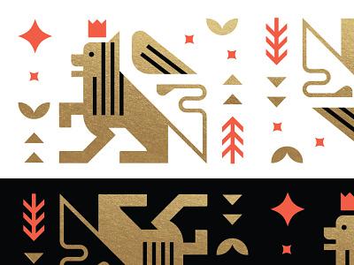 Winged Lion Illustration red black logos vintage king vector illustrator flat seal mark icon geometric logo graphic design gold foil pattern illustration lion gold
