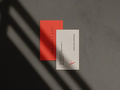 Alejandro Business Card luxury white black red logo design logotype icon seal branding graphic design design typography interior designer print business card fashion architecture interior design logos logo