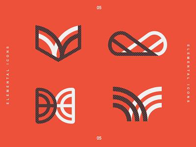 New Icons vintage flat white black element brand identity logo design identity typography logo type set seal mark logo icon graphic design geometric design branding brand