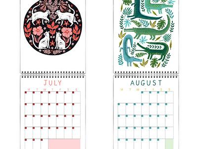 Papio Press Floral Creatures 2019 Calendar floral animals unicorn butterfly fox wall calendar calendar 2019 calendar mythical folk nature illustration drawing design botanical animal