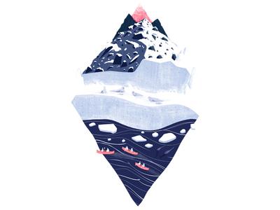 Arctic Diamond narwhal ice canoe travel animal nature design illustration drawing