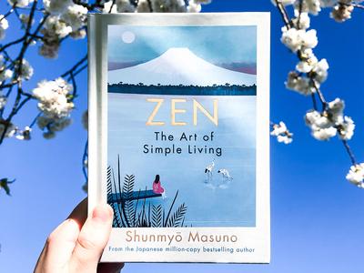 Zen: The Art of Simple Living book cover design book covers publishing house fuji japan zen book cover publishing nature design illustration drawing