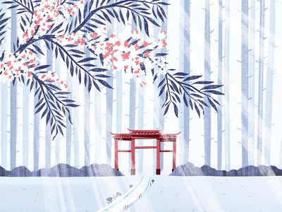 Torii Gates travel art travel path colour palette colour stairs zen garden forest tree calm zen torii japanese japan floral botanical nature design illustration drawing