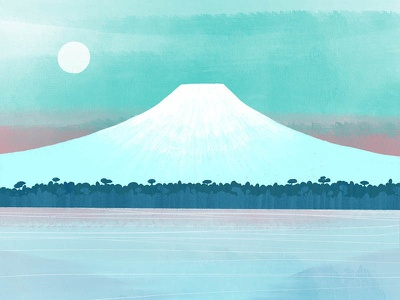 Mt. Fuji watercolour colour palette texture colour travel print travel art japanese art japan mt fuji botanical nature design illustration drawing