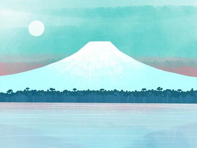 Mt. Fuji watercolour colour palette texture colour travel print travel art japanese art japan mt fuji botanical nature design illustration drawing