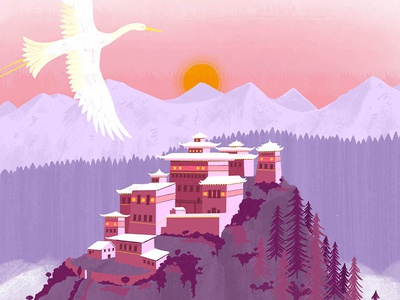 Castle in the Sky forest watercolour texture pink colour sun birds bird landscape mountain temple animal nature design illustration drawing