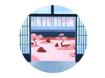 Zen Garden watercolor photoshop texture japanese art hand drawn gradient dribbble digital creative pink blue landscape background zen japan colour palette colour design illustration drawing