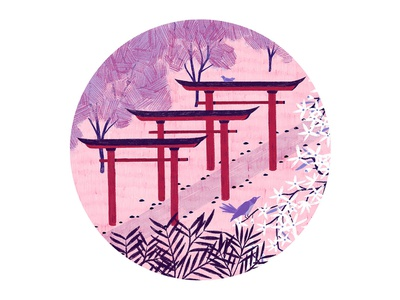 Torii Gates red pink simple pencil pattern texture colour trees flowers bird photoshop japanese art japan floral botanical animal nature design illustration drawing