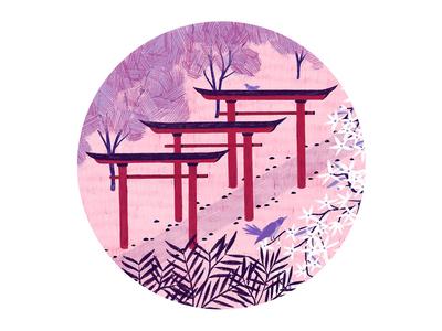 Torii Gates red pink simple pencil pattern texture colour trees flowers bird photoshop japanese art japan floral botanical animal nature design illustration drawing