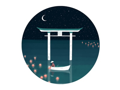 Torii Gate at Night lantern starry sky stars pencil texture photoshop watercolour white green black dark night torii gate torii japanese art japan nature design illustration drawing