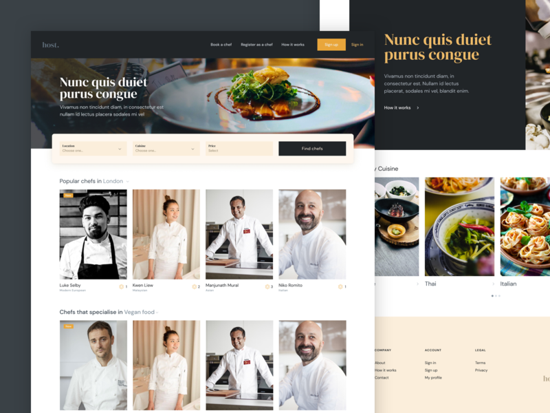Chef Agency Landing Page landing page design product ux ui