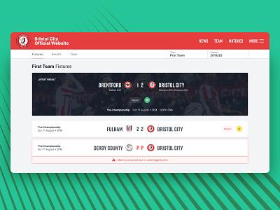 Touchline v2 – Match Listing web app sport football club football product website ux ui