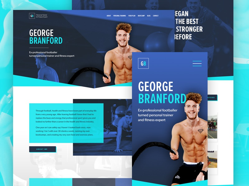 George Branford Personal Trainer web design website web bright flat responsive gym leisure fitness personal trainer ux ui