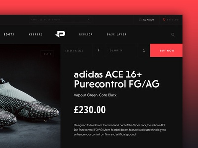 Pro:Direct Soccer Concept – Product product ecommerce dark desktop web ux ui adidas boots football soccer pro-direct