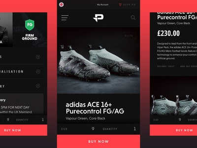 Pro:Direct Soccer Mobile Concept – Product web ux ui product pro-direct ecommerce responsive mobile soccer boots football adidas
