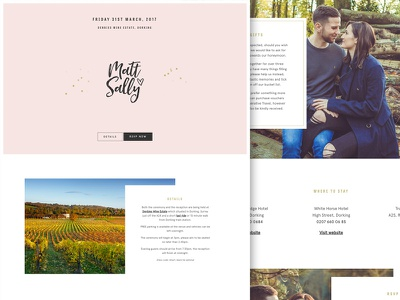 Matt + Sally Wedding Website  animated ux ui rsvp marriage one page wedding