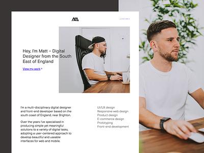 Personal Site 2019 - matt.ax developer designer freelance interface ui black white clean portfolio personal site responsive website