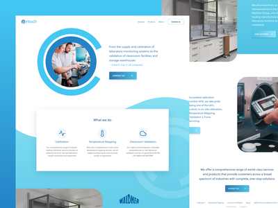 Intech Calibration minimal icons blue corporate shadows website responsive ux ui