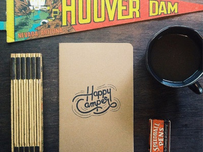 Happy Camper Notebook lettering type typography notebook paper print camping handmade