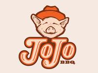 JoJo BBQ  typography southern orange bbq type lettering logo