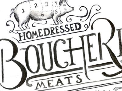 Boucherie - Watercolor Sketch watercolor lettering handdrawn boucherie food pig