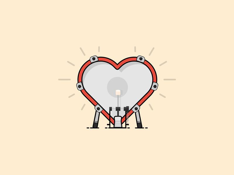🥁 Heart Beat - Drum Bass design vector icon sketchapp band drum  bass rock inspiration illustration love valentine day heart drummer music drum