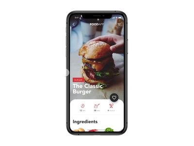 Recipe App sketch invision studio invision motion pancakes pizza burger food app food user experience user inteface design app design ios mobile app design