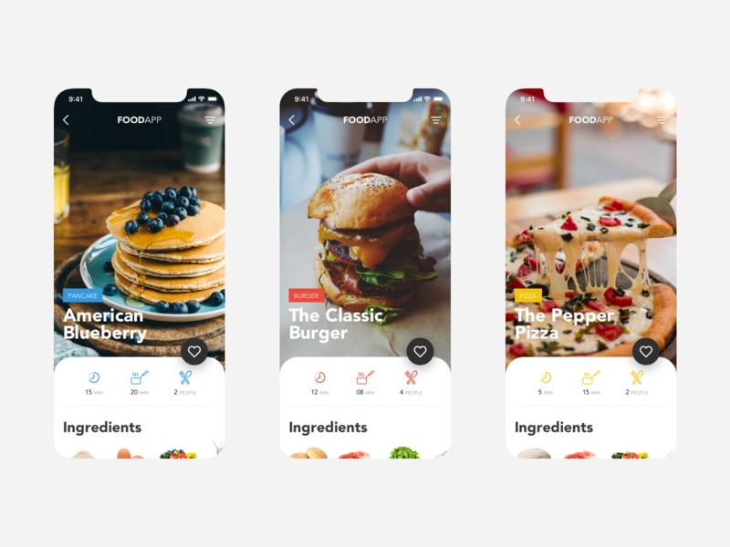 Recipe App - Slideshow user interface user experience sketch mobile app design mobile invisionstudio invision food app food design app design pancake pizza burger app design