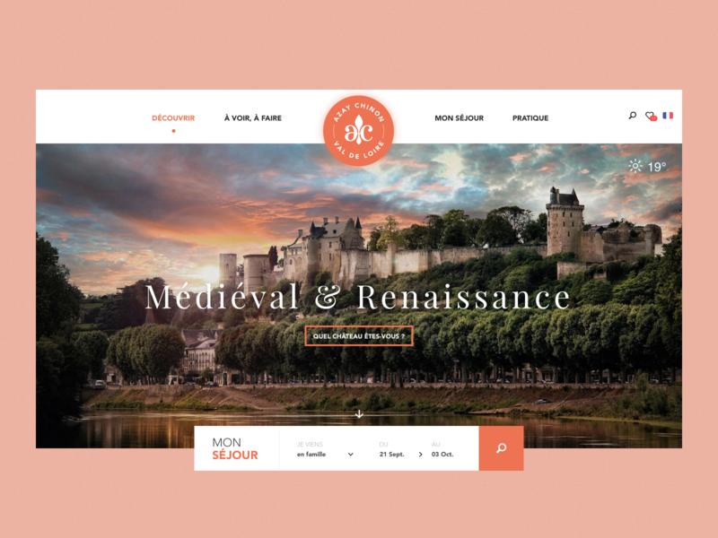 Azay-Chinon - Landing page web sketch app homepage france interface design web  design ui destination travel landing page tourism