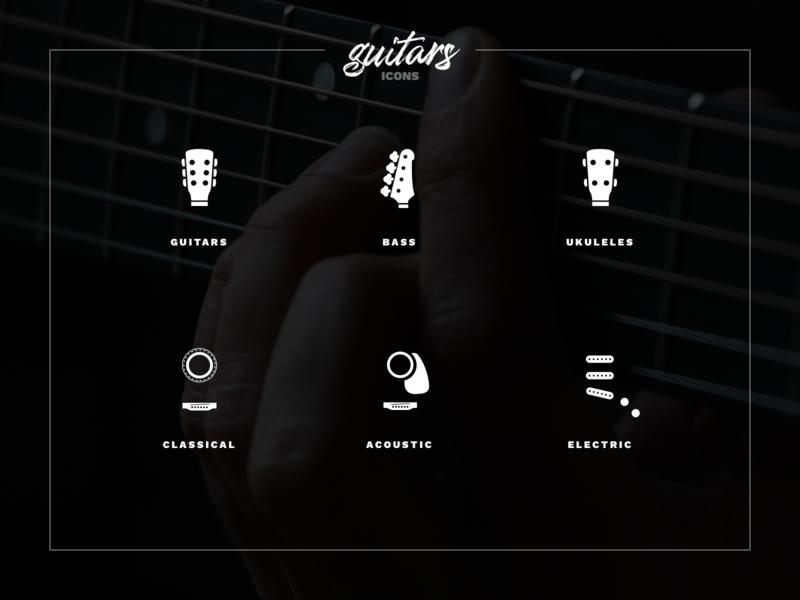 🎸Guitars Icons sign symbol musician branding brand bass guitar music app design icon set icons icon
