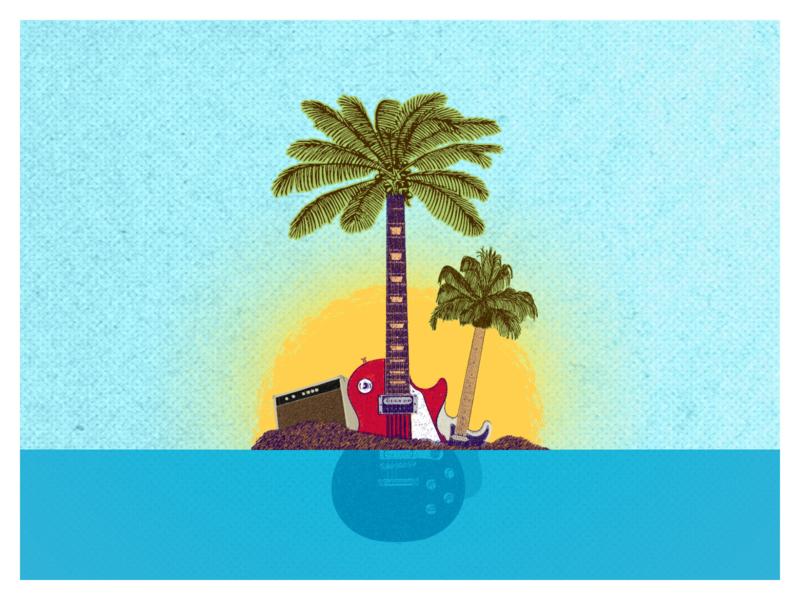 Guitar Island - Illustration summer design inspiration summer vibes island photoshop guitar illustraion