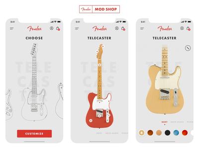 Fender Mod Shop - Concept App animation design rock concept user experience user interface ux mobile telecaster guitar music fender iphone ios app ui