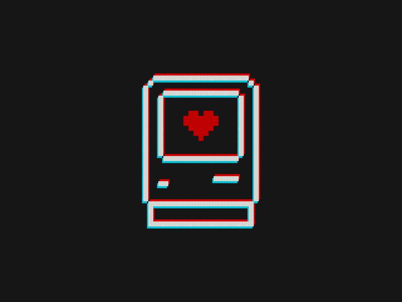 Macintosh Classic Finder Icon 8bits 8bit vintage susankare sketch illustration branding logo design love heart anaglyph pixel apple 80s retro icon macintosh mac