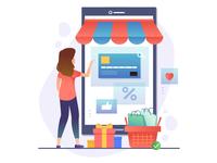 Online Shopping Concept. Woman Shopping.