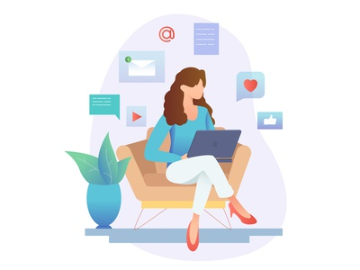 woman with notebook on the couch