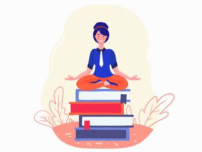 Business woman meditating. Woman in yoga pose