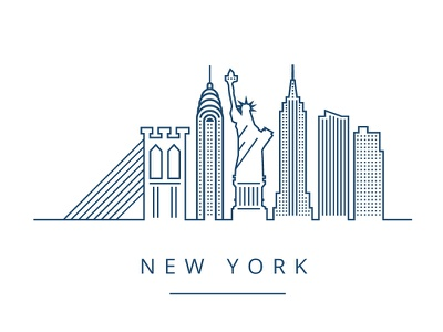 NY Illustration (dropbox inspired) liberty flat simple illustration new york dropbox