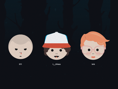 Stranger Things themed emoticons illustration simple awesome character barbara barb toothless eleven emoticons stranger things
