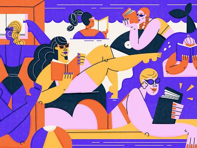 Summer Reads summer bathingsuits swim suits women pool floatie reading books book pool swim swimming illustration