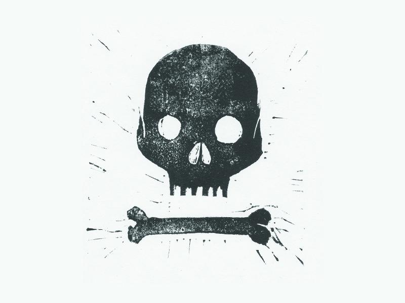Golgotha linoleum print logo branding skull bone golgotha