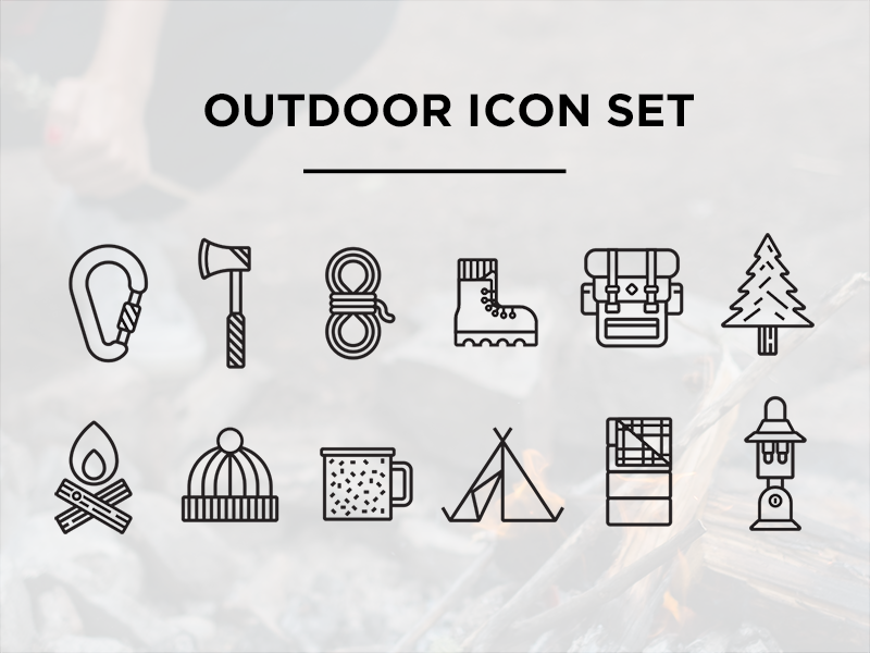 Free Outdoor Icon Set! rope hatchet axe fire backpack tree boot set outdoor icons icon free