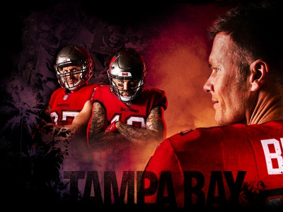 Tampa Bay Buccaneers typography palm tree gronk tom brady nfl football photo editing design design direction